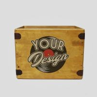 "Design Your Own Record Box 12"" Large 80 LP's Wooden Custom Album Crate"